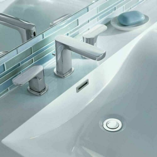 Widespread Two-Handle Bathroom Faucet in Chrome Moen T6920 Rizon 8 in