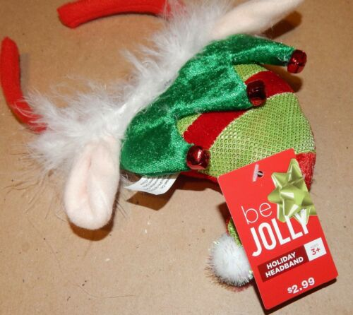 Elf Christmas Headbands 2 Each Be Jolly Holiday Green With Bells /& Ears 151A