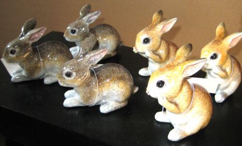 3 Stück Keramik Hase  sitzend stehend grau braun 10x8 cm #781640