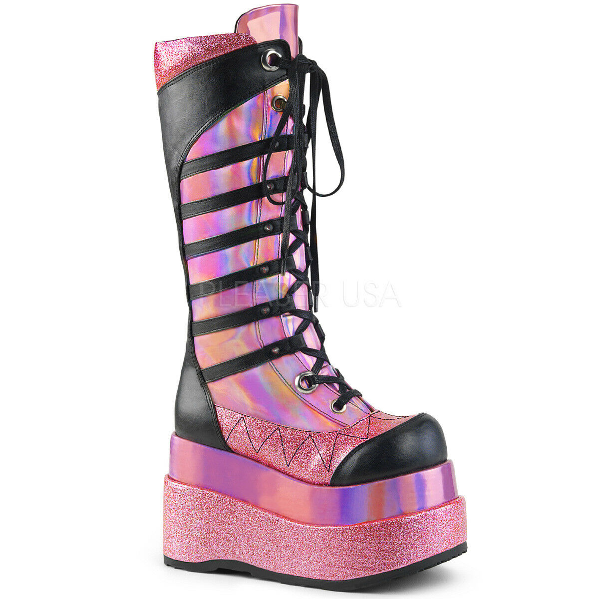 Demonia Bear-205 Rave Cyber Goth Punk Rave Bear-205 Knee High Platform Hologram Pink Stiefel b04ae6