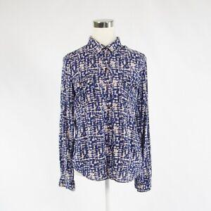 Navy blue white ikat CALVIN KLEIN long sleeve button down blouse S