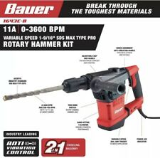 Bauer Rotary Hammer Drill 11 Amp 1 916 Sds Max Type Bits Pro Variable Speed