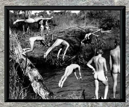 Remarkable.. Soldiers Skinny Dipping Group of Men Vintage 8x10 Photo Print