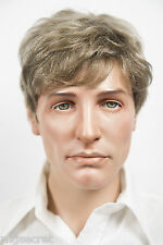 Light Golden Reddish Brown with 35% Grey Blonde Medium Human Hair Men Wig