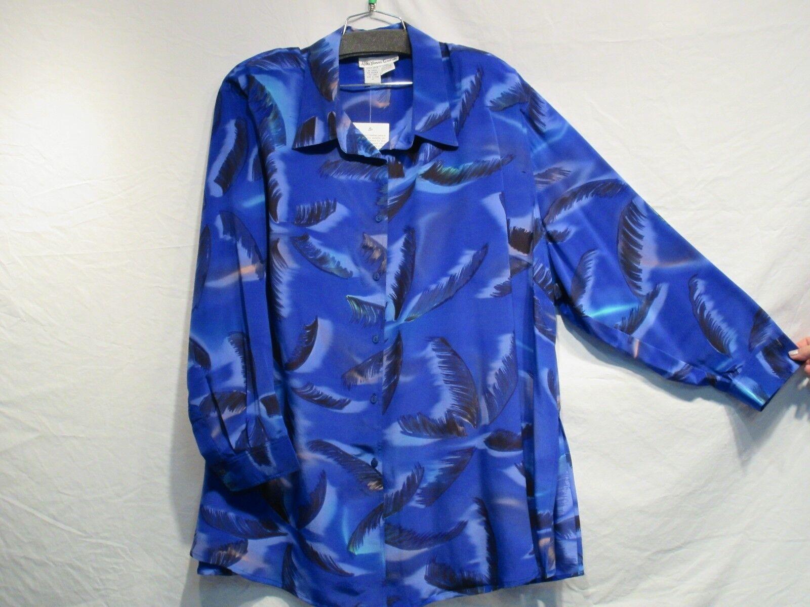 4X Silk Blouse by Aliki Yamani in Royal Palm Print