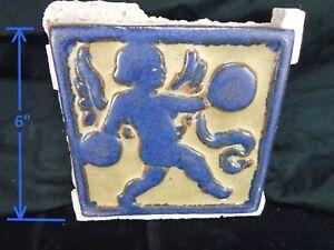 VERY-RARE-Grueby-Pottery-CHERUB-w-CYMBALS-in-PRIZED-BLUE-SAVE-U-FRAME