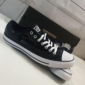 Converse CT All Star OX Black Sequin Sneaker Unisex Sz W 13 M 11 ... ae5910734