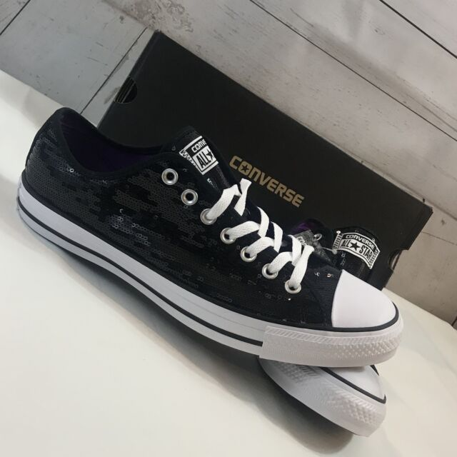 3bed3cc039c15 Converse CT All Star OX Black Sequin Sneaker Unisex Sz W 12 M 10 -
