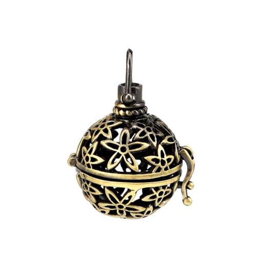 B223 Bronze Fleur Ballon Rond Parfum Diffuseur flottant Médaillon Charme Pendentif
