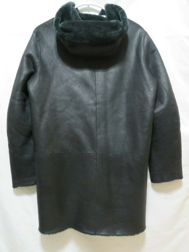 Sandro Paris Reversible Hooded Leather And Lamb Shearling Coat - Size 2