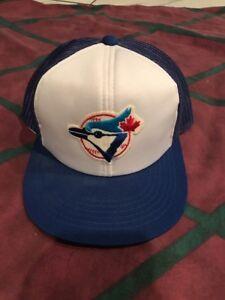 506a4d763 Details about Vintage Toronto Blue Jays Snapback Hat Cap Ted Fletcher Blue  White Trucker