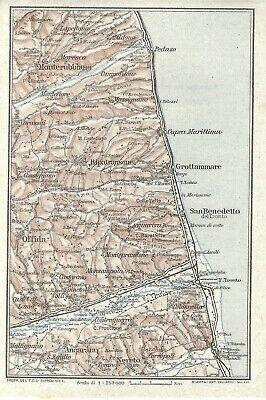 Cartina Geografica Costa Adriatica Marche.Costa Adriatica Marche E Abruzzo Sanbenedetto Carta Geografica Touring Club 1924 Ebay