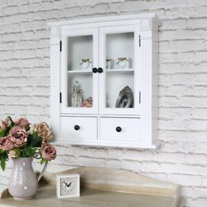 weiß gemalt Glas Badezimmer Schrank Schrank Display Vintage Möbel ...