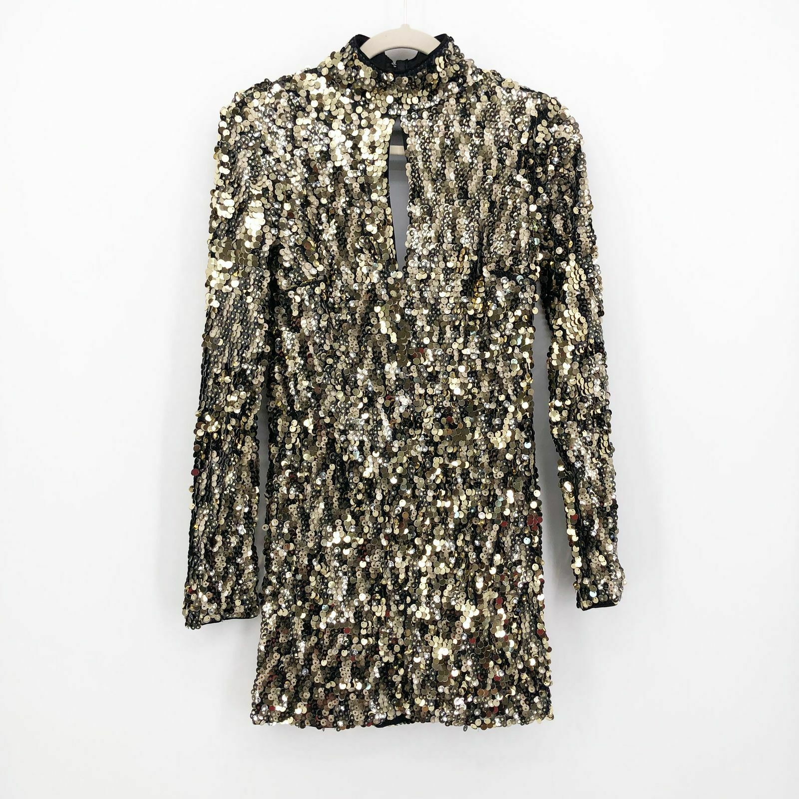 michael costello revolve women's dress seneca mini gold star sequin size m  $238