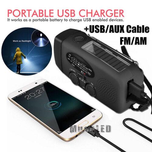1000mAh Emergency LED Radio Solar Hand Crank AM//FM//NOAA Flashlight Phone Charger