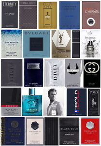 Lot-of-25-Mens-Fragrance-Samples-Gucci-Prada-Burberry-YSL-Versace-D-amp-G-Hermes-CK
