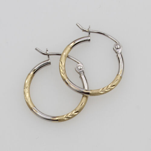 14K Real Yellow White Gold 1.5mm Thick Diamond Cut Satin Hinged Hoop Earrings