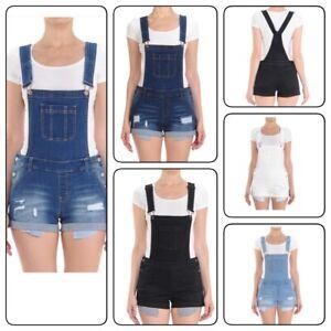 Women-Adjustable-Juniors-Overall-Shorts-Distressed-Denim-Romper-S-3XL