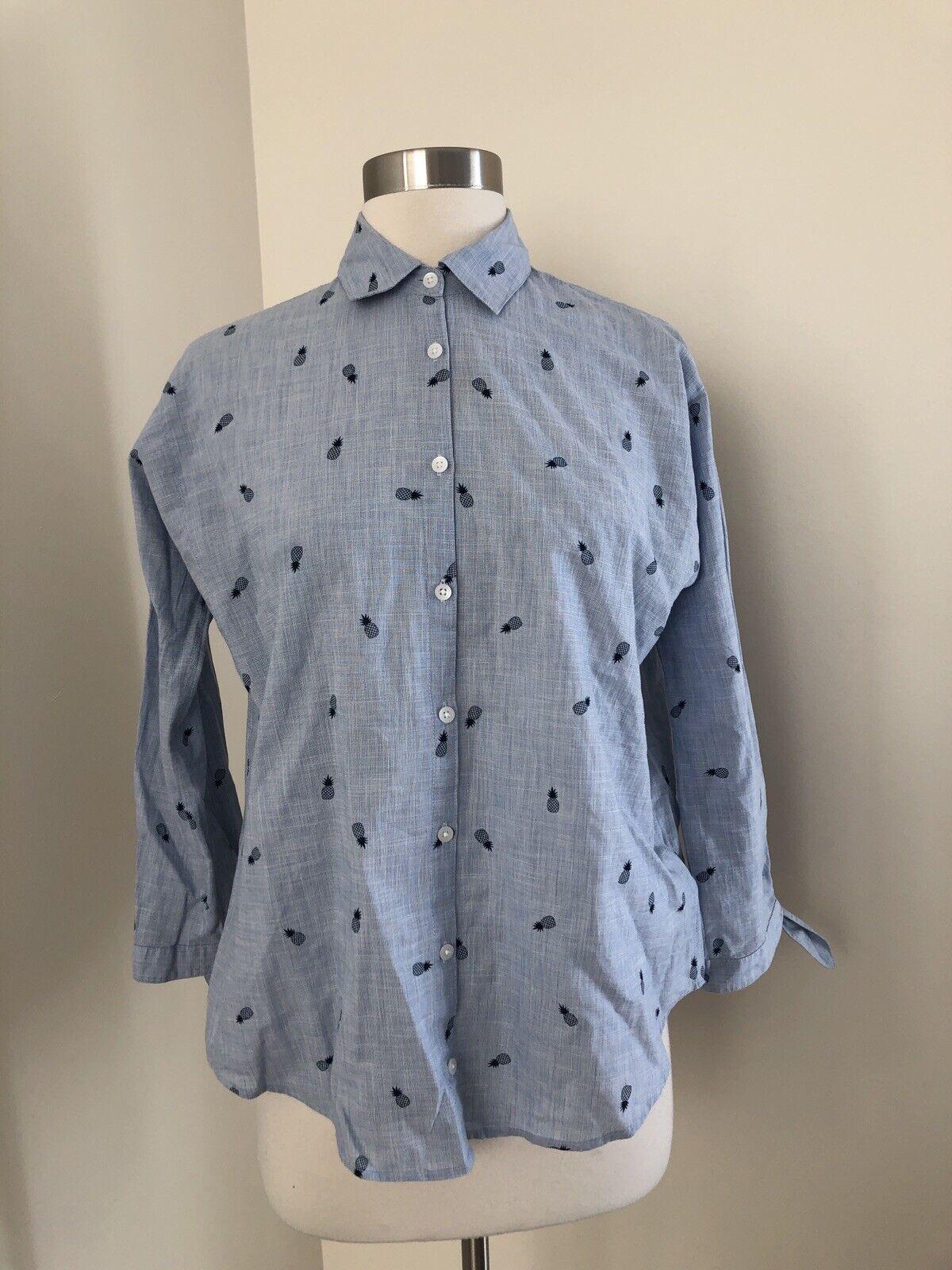 New Madewell Shrunken Trapeze Shirt in Pineapple Print Blau G4896 XXS