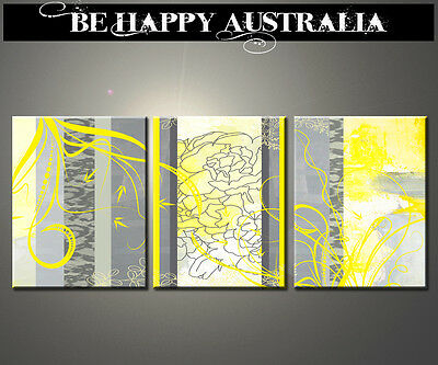 YELLOW-GREY  ABSTRACT ON STRETCHED CANVAS SET OF 3 EZCH SIZE 25cm x 30cm x 2cm