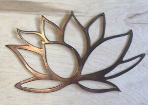 Lotus Flower Wall Metal Art With Rustic Copper Finish Hanging Ebay