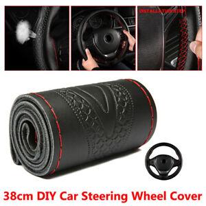 1x-Black-38cm-DIY-Genuine-Leather-Car-Steering-Wheel-Cover-Embossing-Accessories