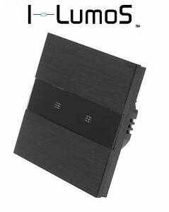 I LumoS Black Aluminium Panel WIFI/4G Touch Remote On/Off LED Light Switches
