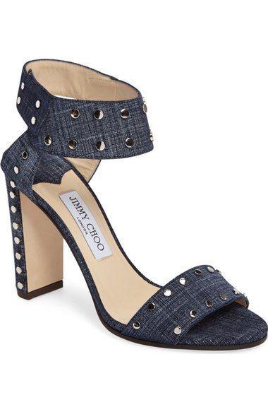 NEW 4.5     34.5 Jimmy Choo Veto Denim Silver Stud Open Toe Ankle Cuff Sandal  895 9c8c92