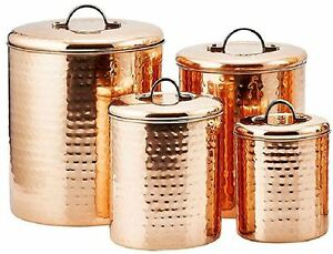 Hammered Copper Plated Steel 4 PC Canister Set Kitchen Decor Storage