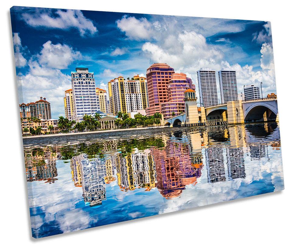 Palm Beach Florida SINGLE LONA LONA LONA parojo horizonte de la ciudad imagen de impresión de arte d36b59