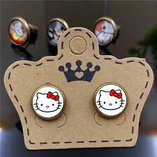 Cheap New Cute Cartoon Hello Kitty Ear Stud Earrings Women Jewelry Gift