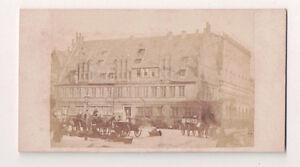 Vintage-CDV-Early-European-Street-Scene-Horse-amp-Buggy-People-Great-Image