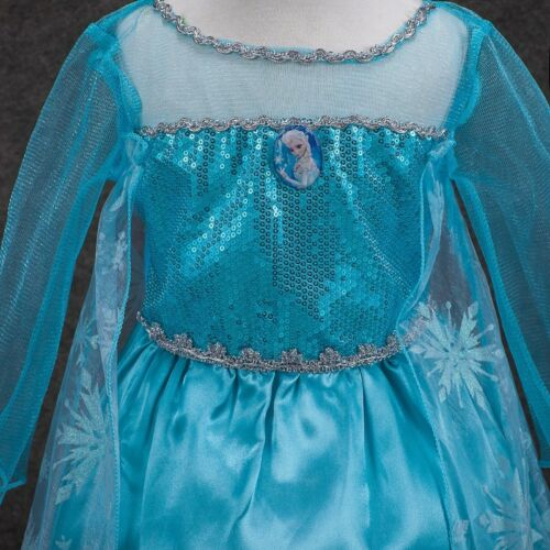 New Elsa Frozen Princess Girl Fancy Dress Disney Costume Birthday Party Gift 3-7
