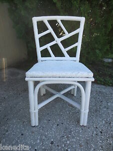 Vtge Chinese Chippendale Chair Bamboo Hollywood Regency Rattan Ficks