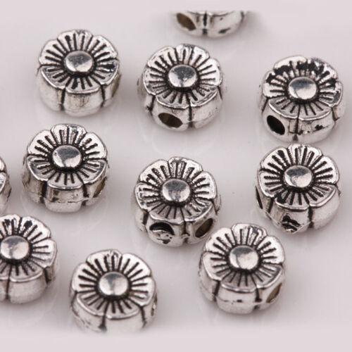 30Pcs Tibetan Silver tube Sculpture Fleur Charme Loose Bead Jewelry Finding 6X3mm