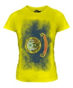 Idaho Verblasste Staatsflagge Damen T-Shirt Oberteil Hemd Trikot Geschenk