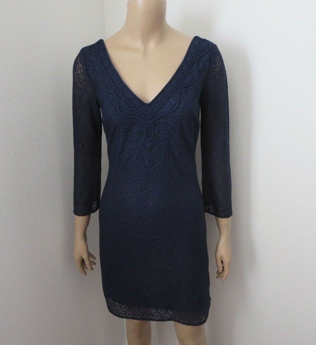 NEW Lilly Pulitzer Alden Lace Tunic Shift Dress Größe XS Navy Blau 3 4 Sleeves