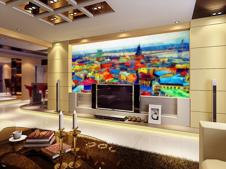 3D Farbeful Houses738 Wallpaper Mural Paper Wall Print Wallpaper Murals UK Lemon