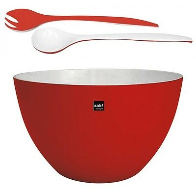 ZAK design XXL Schüssel DUO Rot Weiß im Set mit Salatbesteck Camping Outdoor 7,5
