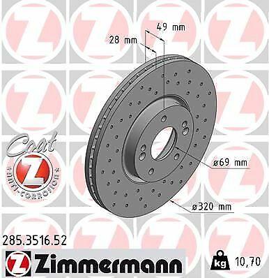 2x ZIMMERMANN Bremsscheibe 285.3516.52 für HYUNDAI KIA
