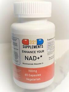 Qty. 60 Capsules Nicotinamide Riboside NR Pharmaceutical Grade 150mg per Capsule
