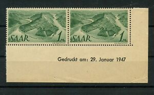 Germany-Saar-Saarland-vintage-yearset-1947-Mi-225-Z-Br-Mint-MNH