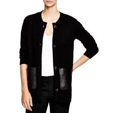 Private Label 1803 Womens Black Cashmere Crew Neck Cardigan Sweater Top M BHFO