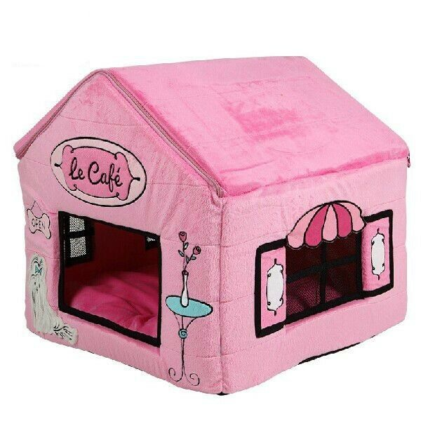 New Cute Poodle's Cafe Pet Dog Cat House Beds Tent Kennel Puppy Kitty Brown Pink