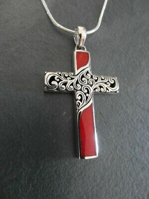 Balinese Sterling Silver ornate teardrop pendant inlaid with red coral and chain