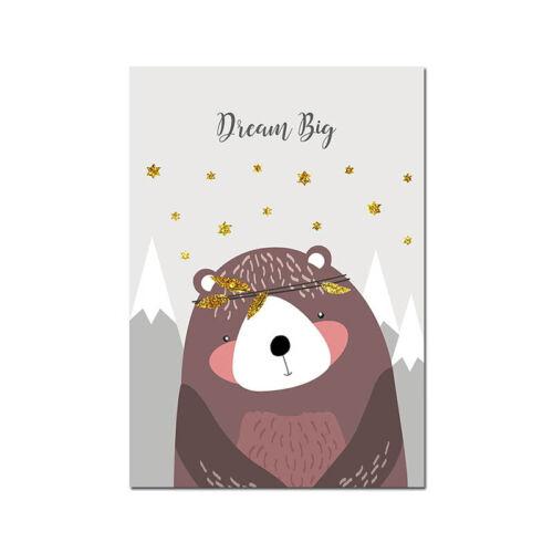 Woodland Animal Picture Owl Fox Nursery Children Poster Canvas Wall Art Print