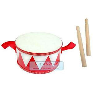 NEW-Toy-Wooden-Marching-Drum-w-sticks-Kids-Musical-Instrument-Toy-Educational