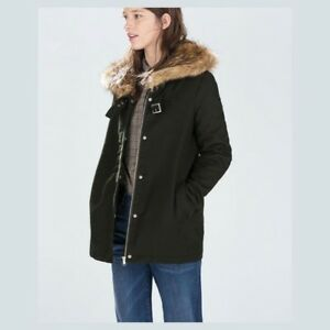 Zara Women Trf Parka Jacket Coat Green Xs Ebay