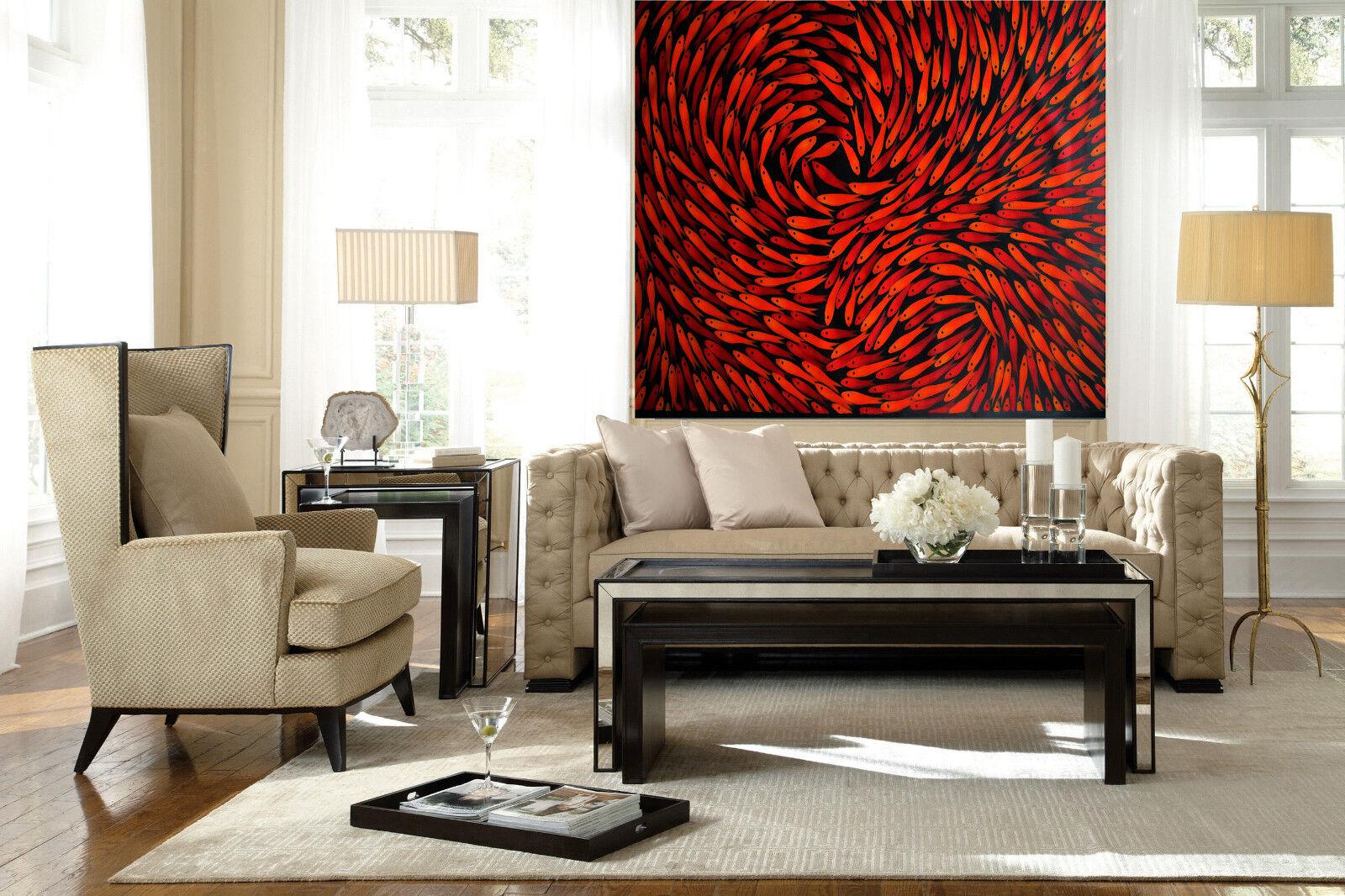 28  rot Canvas Print original art painting Dreaming Fish abstract aboriginal