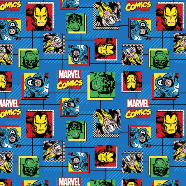 Marvel Retro Comics Block 100% cotton fabric by the yard